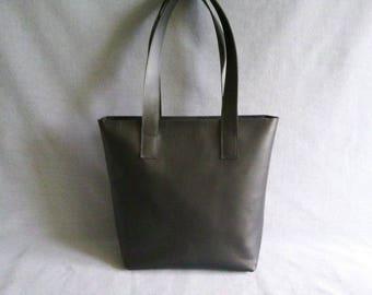 Leather black shopper, leather bag, handmade
