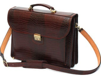 Brown Leather Crocodile Briefcase Leather Laptop Bag Brown Business Bag Leather Messenger Bag Brown Crocodile Bag A4 Leather Briefcase