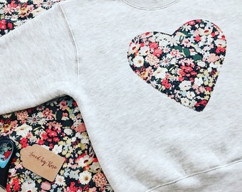 Liberty Print Sweatshirt Children's Personalised Heart Sweatshirt in Navy, Grey or Pink, Baby Girl Outfit, Girl's Sweatshirt
