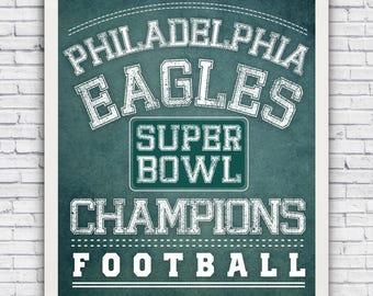 Philadelphia Eagles Super Bowl Champions - football art print (w/ optional frame)
