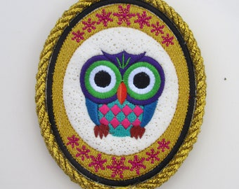 OWL Artwork / Embroidery Art /  Colorful Owl made from thread / Wall Decor