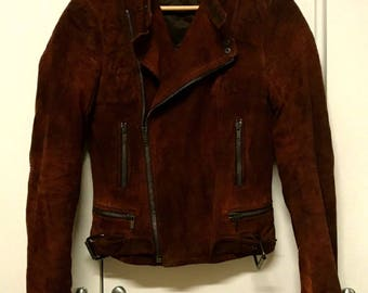 Ralph Lauren Purple Label Suede Genuine Leather Jacket Coat Long Sleeve Full Zip Made in Italy by Caruso