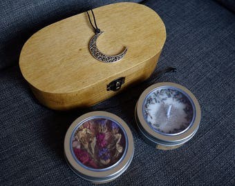Bath Potion and Moon Necklace Gift Set - Trinket box - Soy Wax Candle - Bath Salts - Bath & Beauty - Himalayan Salt - Witchcraft - Wicca