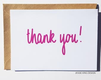 Thank You Card - Thank You - Pink - Thank You Cards - Greeting Card