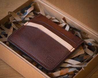 Handmade Full Grain Leather Cardholder, Minimalist Wallet, Leather Wallet,