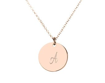 10K & 14K Solid Gold (Never Plated!) Small Initial Disc Pendant