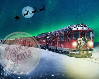 Polar Express Digital Backdrop, Polar Express Digital Background, Magic Winter Train Backdrop, Magic Winter Train Background, Winter Night