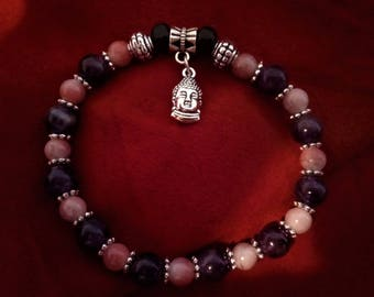 Valentine's day, love Amethyst bracelet and pink Jasper