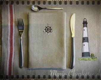 "Embroidered Placeset with napkin ""Lighthouse 3"""