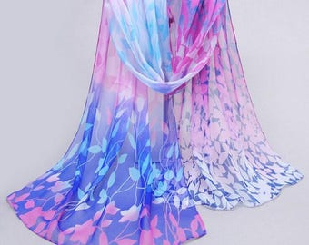 Blue Women Design Printed Silk Soft Silk Chiffon Shawl Wrap- Wraps Scarf Scarves -Hijab