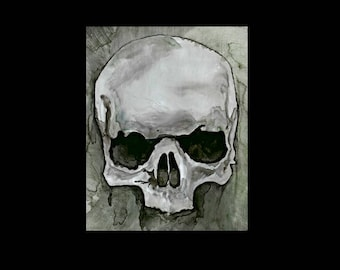 ACEO Skull Print, ACEO, Aceo Print, Aceo Art Card, Aceo Painting, Aceo Skull, Aceo Skulls, Aceo Gothic, Artist Trading Cards, Gothic Art