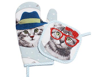 "Connie oven Mitt and Potholder set ""Cats"""