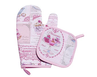 "Potholder and oven Mitt Betty set ""Cupcakes"""