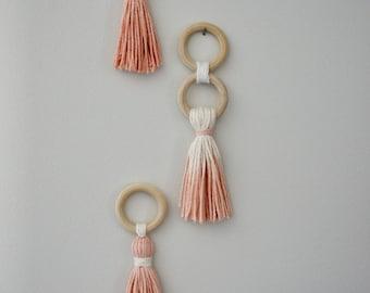 Tassel Wall Hanging, Wood, Dip Dye, Pink, Blush, Yarn, Boho, Macrame