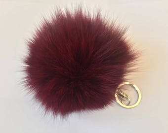 Large Genuine Fox Fur Pom Pom Keychains