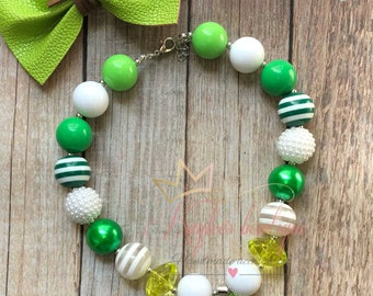 St.Patricks chunky necklace, clover necklace