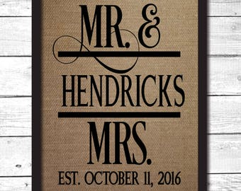 mr and mrs sign, personalized mr and mrs gift, burlap print, mr and mrs wall decor, gifts for couple, wedding gift, bridal shower gift, FM12