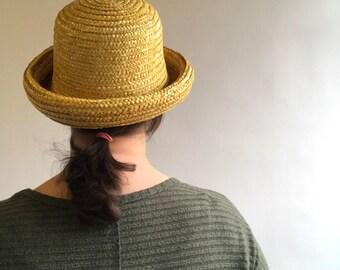 Vintage Yellow Straw Derby Hat