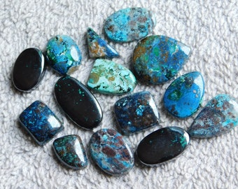Lot ! AAA quality Azurite gemstone Cabochons Loose Gemstone Azurite Cabochons Excellent Gemstone 100%Natural 230.00cts. 14 Pieces.