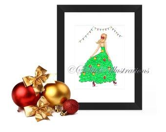 Print, party, illustration, Christmas, wallart, Christmasdress