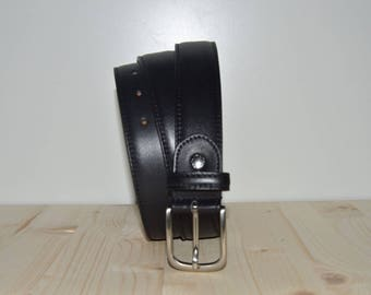 Leather belt and black stitched leather