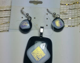 Black and white Dichroic fused glass pendant and earrings set