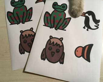 Rain forest animal stickers