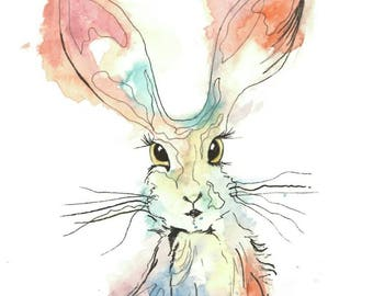 Watercolour print of a kind of crazy bunny!