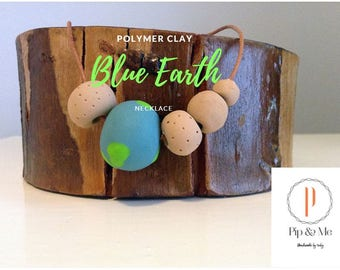 Blue Earth - Polymer Clay Necklace