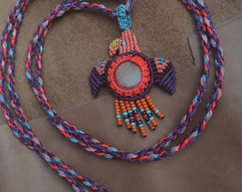 Free spirit pendant / blue orange purple pink macrame / birds