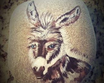 Baby Donkey handpainted stone rock ooak
