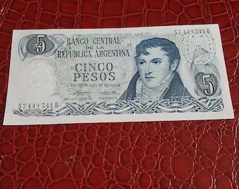 Argentina Cinco Peso Banknote 5 Pesos Banco Central De La Republic Argentina-UNC