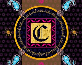 Illuminated letter C, Digital art, Digital Art, icon, print, Illustration, frame for frame, decorative frame, gift