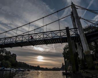Teddington Bridge at Sunrise. Teddington, UK. Landscape Photographic Print.