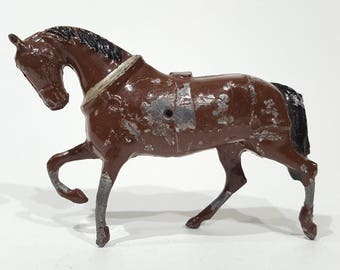J. Hill and Co. Company Painted Lead Hollow Cast Brown Horse Made in England - Pre War English - Vintage Farm Animals
