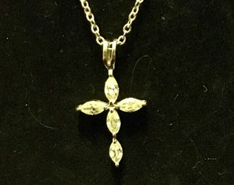 Diamond rhinestone cross necklace