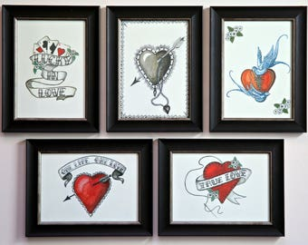 Gift. Art. Wedding,Engagement,Anniversary or Love .Set of 5 vintage inspired Love and romance framed prints handmade *5 for price of 4*