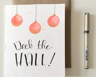 Christmas card * Deck the hall * by hand