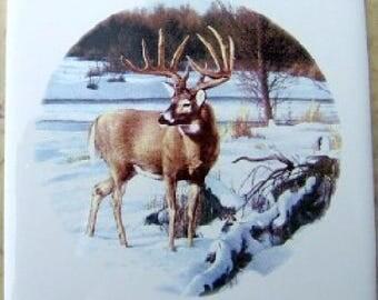Ceramic Tile Whitetail Deer wildlife accent backsplash serving tray