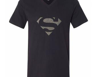 Glitter Super Man, Iron Man , Man of Steel,Super girl,Super Hero, Girl of Steel, Wonder Woman Shirts , Size S, M, L , XL 100% Cotton