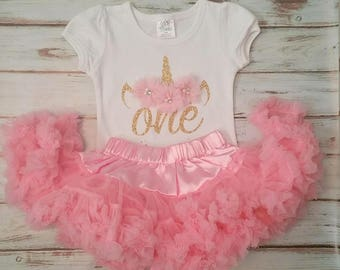 Light Pink and Gold Unicorn 1st or 2nd Birthday 3d Shirt and PettiskirtTutu Birthday Outfit