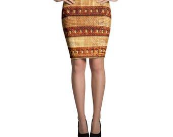 Vintage Design Brown Pencil Skirt