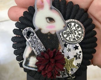 Rabbit and Cat Brooches
