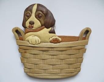 Intarsia Puppy in basket