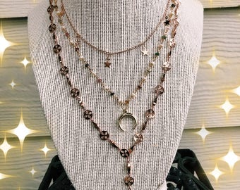 Rose gold and gold necklaces
