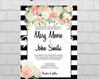 PRINTABLE Black And White Floral and Stripe Wedding Invitation DESIGN
