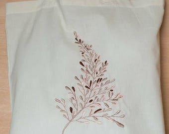 Rose Gold Botanical Sprig Hand Embroidered Tote Bag
