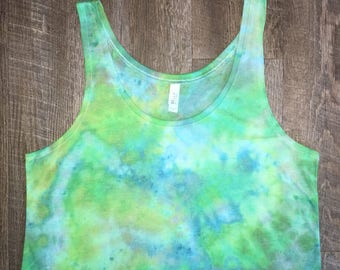 Iced tie dye. Womans tank top pastel