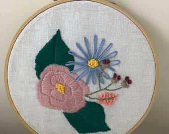 Floral design, embroidered hoop