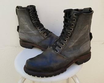 Vintage TIMBERLAND black leather canvas COMBAT BOOTS size Uk 9.5 Us 10 Eu 43,5-44